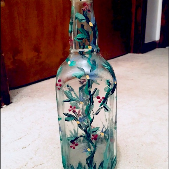 Rustic Hand Painted Vintage Glass
